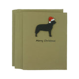 Australian Cattle Dog - Cattle Dog Christmas Cards with Santa Hat - Single Card or 10 Pack Black Dog