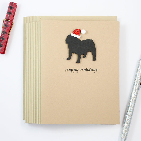 Bulldog Christmas Cards with Santa Hat | Single or 10 Pack | Choose Phrases | Handmade Holiday Card