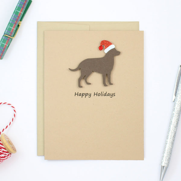 Chocolate Lab Christmas Cards | Handmade Labrador Retriever Holiday Card | Single or 10 Pack with Santa hat