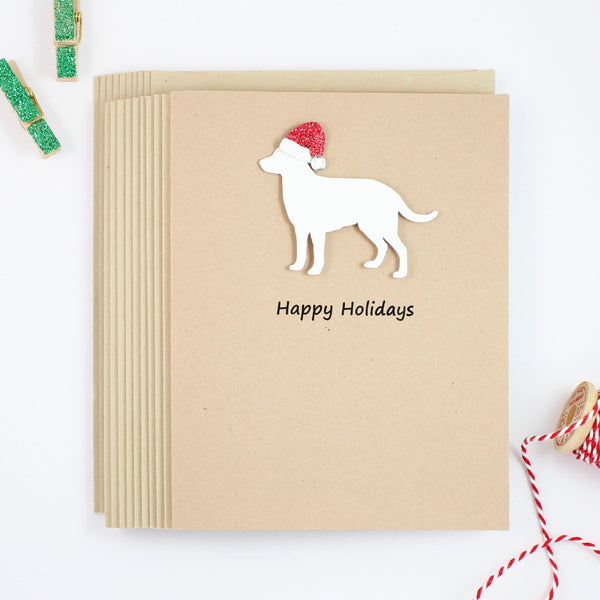 White Lab Christmas Cards 10 Pack | Handmade Labrador Retriever Holiday Cards | White Dog with Santa Hat | Happy Holidays