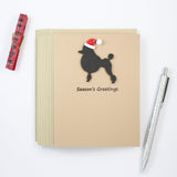 Poodle Christmas Cards | Single or 10 Pack | Santa Hat | Toy Miniature Standard | Continental Clip