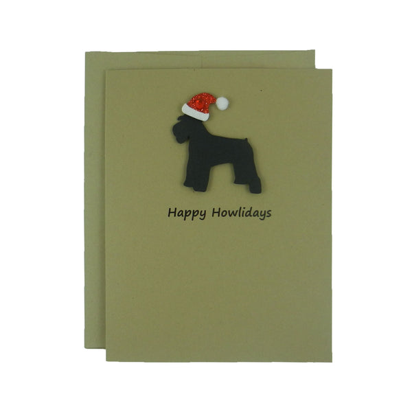 Miniature Schnauzer Christmas Cards with Santa Hat Single Card or 10 Pack Black Dog - Embellish by Jackie
