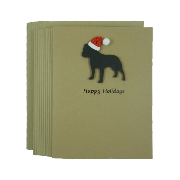 Staffordshire Bull Terrier Christmas Cards 10 Pack with Santa Hat
