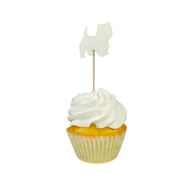 West Highland White Terrier Cupcake Topper Set of 12   Westie Birthday Party Decor   Cake Topper   White Dog 1