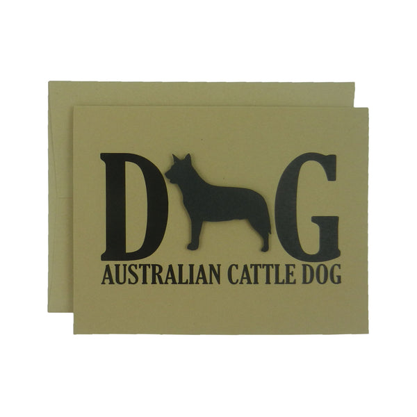 Australian Cattle Dog Greeting Card Black Dog Card Single or 10 Pack of Card Set of Card Kraft Card Dog Note Card Kraft Cards Dog Note Cards