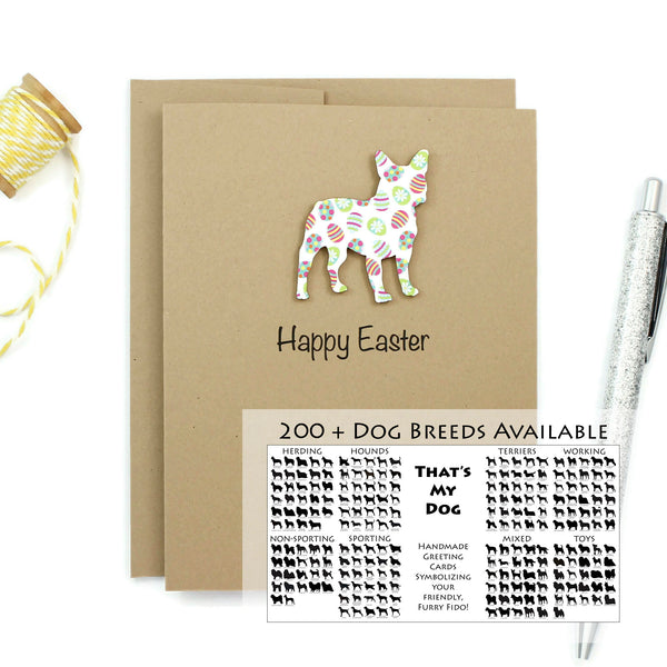 Dog Easter Notecard | 200+ Dog Breeds to Choose from | Single Card or 10 Pack | Colored Easter egg Pattern