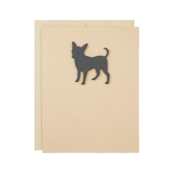 Chihuahua Blank Greeting Cards | Handmade Smooth Coat Black Dog Card | Single or 10 Pack | Chi-chi