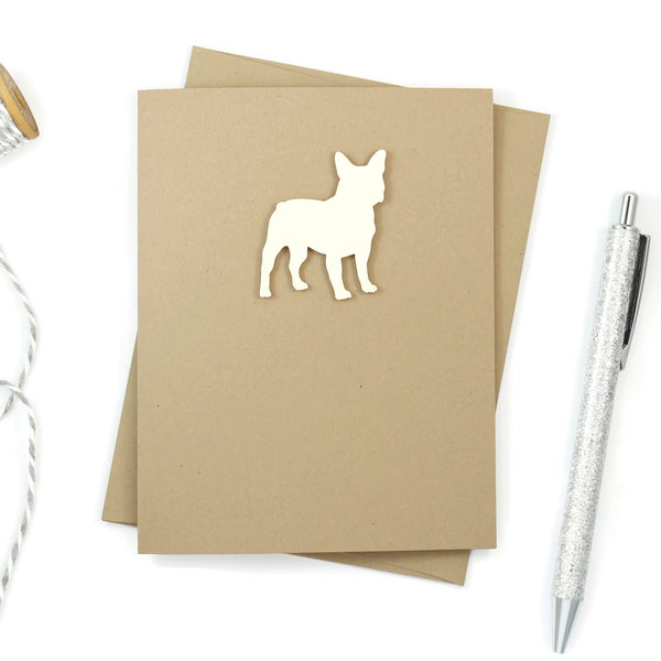 French Bulldog Blank Cards - Handmade Black Frenchie Kraft Note Cards - Greeting Card