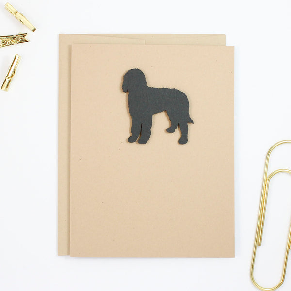 Bernedoodle Blank Dog Greeting Cards | Handmade Black Labradoodle Notecard | Single Card or 10 Pack