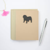 Bulldog Blank Greeting Card | Handmade Black Dog Blank Notecards | Single or 10 Pack | Kraft Brown