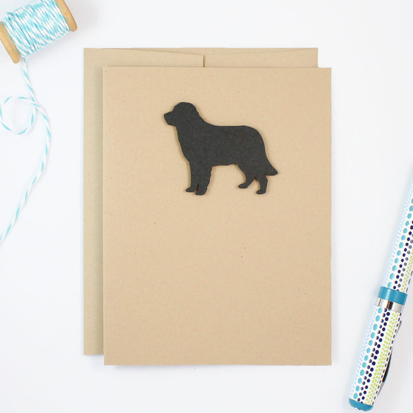 Golden Retriever Blank Cards | Handmade Black Dog Kraft Notecards | Single or 10 Pack | Dog Lover