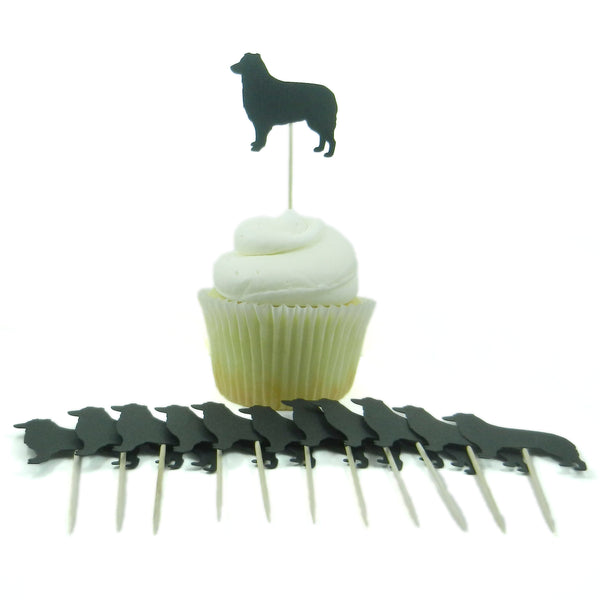 Border Collie Dog Cupcake Topper Set of 12 Black Border Collie Dog Cupcake Toppers Pet Decorations - Embellish by Jackie