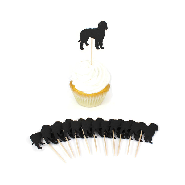 Bernedoodle Cupcake Toppers Set of 12 | Black Labradoodle Party Decorations | Dog Birthday Decor