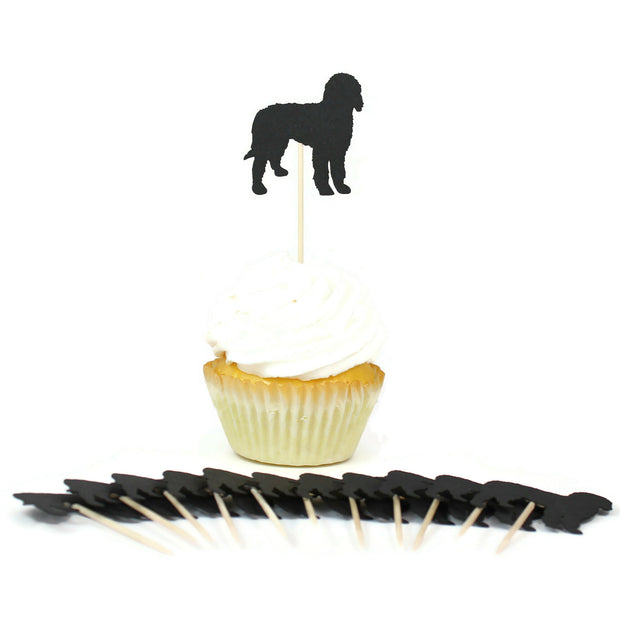 Bernedoodle Cupcake Toppers Set of 12 | Black Labradoodle Party Decorations | Dog Birthday Decor 1