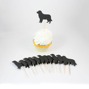Golden Retriever Cupcake Toppers Set of 12 | Black Dog Party Decorations | Birthday Décor Cake Topper