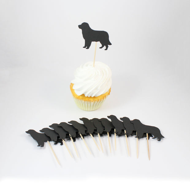 Golden Retriever Cupcake Toppers Set of 12   Black Dog Party Decorations   Birthday Décor Cake Topper 1