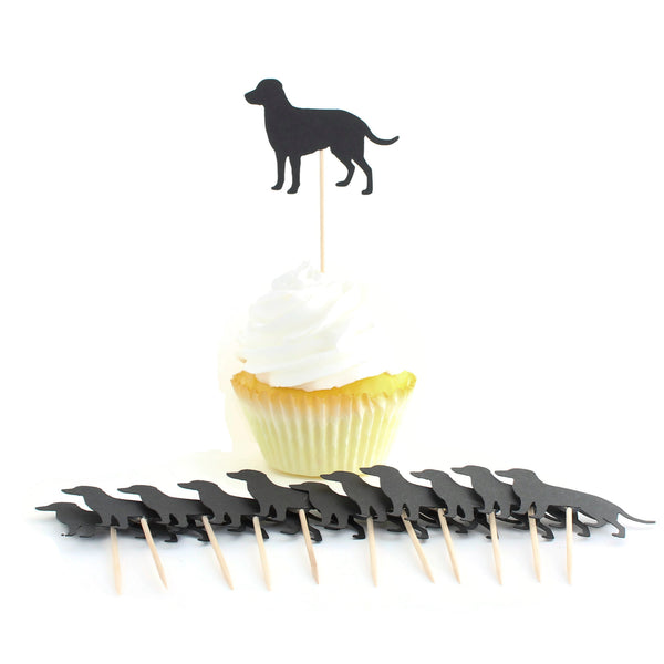 Black Labrador Retriever Cupcake Toppers Set of 12 | Lab Decorations Pet Birthday | Dog Lover Decor