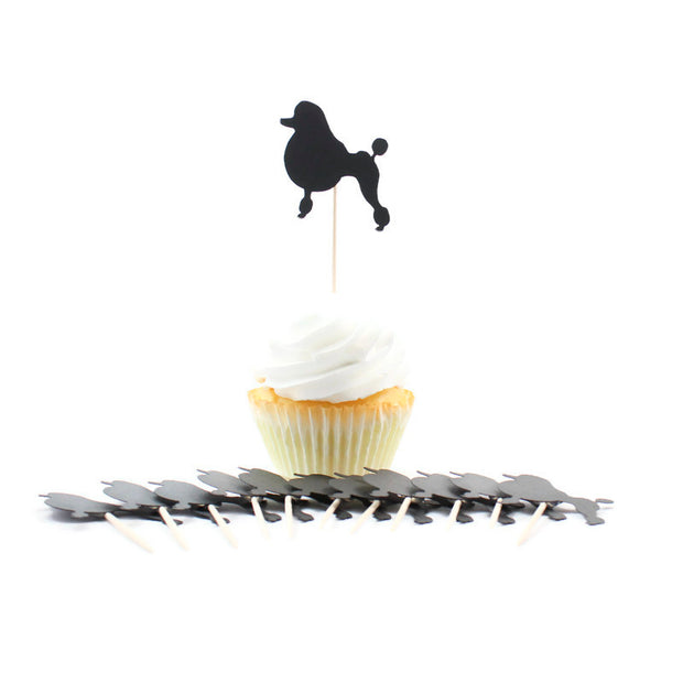 Poodle Cupcake Toppers Set of 12 | Handmade Pet Birthday Decor | Toy Miniature Standard Continental 1