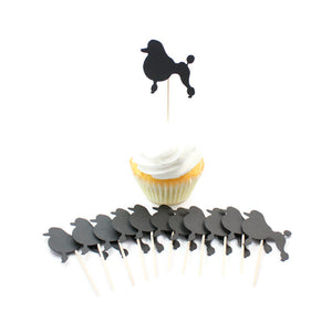 Poodle Cupcake Toppers Set of 12 | Handmade Pet Birthday Decor | Toy Miniature Standard Continental