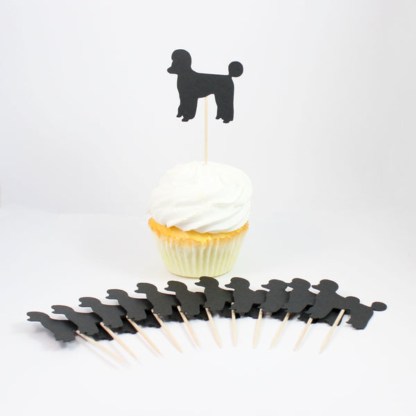 Poodle Cupcake Toppers Set of 12 | Handmade Dog Birthday Decor | Toy Miniature Standard Sporting