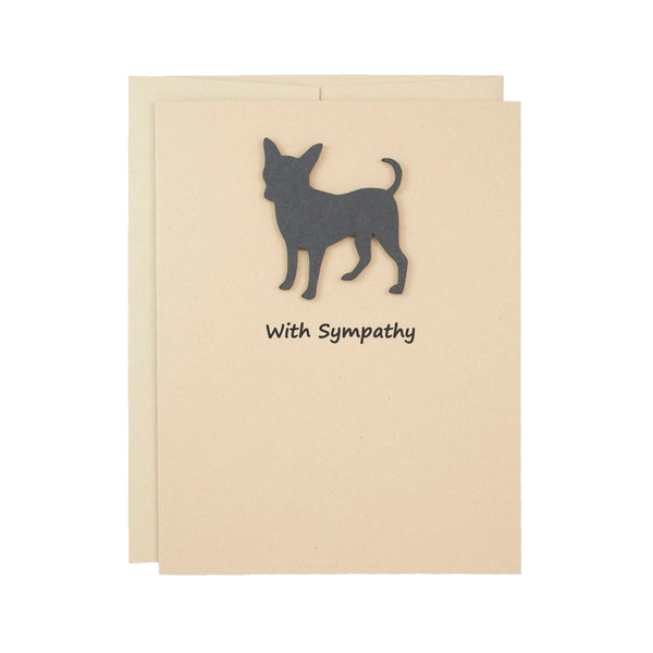 Chihuahua Sympathy Card | Single Card or 10 Pack | Black Dog Greeting Cards | Choose Inside Phrase