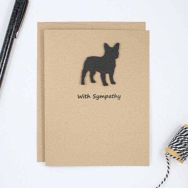 French Bulldog Sympathy Card 10 Pack or Single Card Frenchie Greeting Cards Dog Sympathy Cards