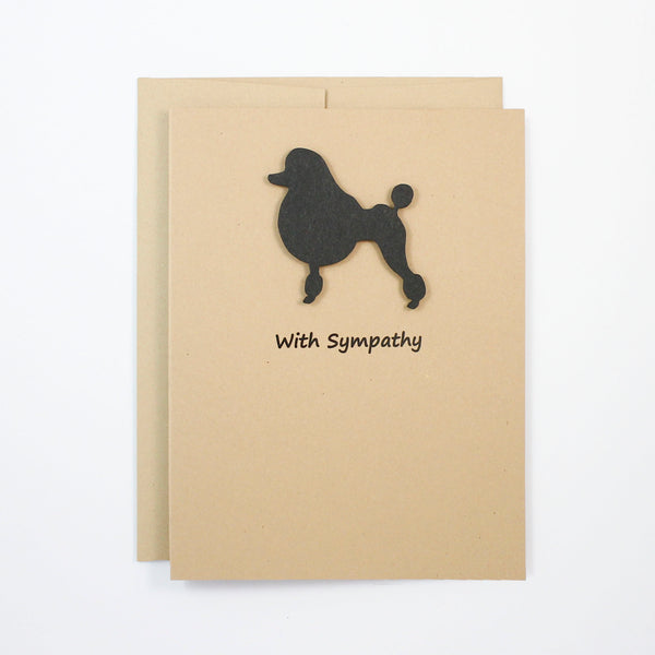 Poodle Sympathy Card | Single Card or 10 | Choose Inside | Toy Miniature Standard | Continental Clip