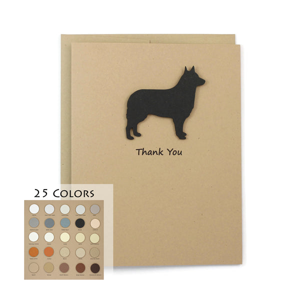 Siberian Husky Belgian Sheepdog Belgian Tervuren Thank You Card | 25 Dog Colors Available | Choose Inside Phrase | Single Card or 10 Pack