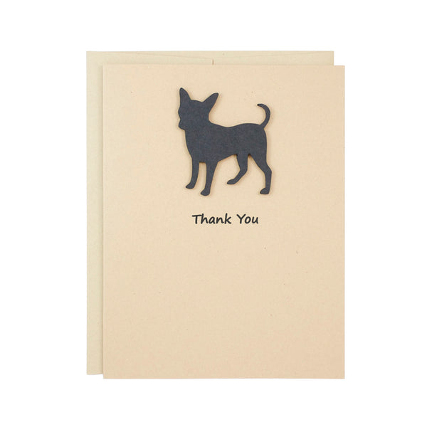 Chihuahua Thank You Card | Handmade Black Dog Notecards | Single - 10 Pack | Choose Inside | Chi-chi