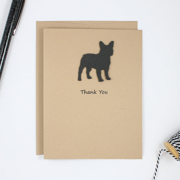 French Bulldog Thank You Card Black Frenchie Dog Greeting Cards Dog Thank You Cards