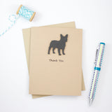 French Bulldog Thank You Cards | Handmade Frenchie Greeting Card | Black Dog | Single or 10 Pack