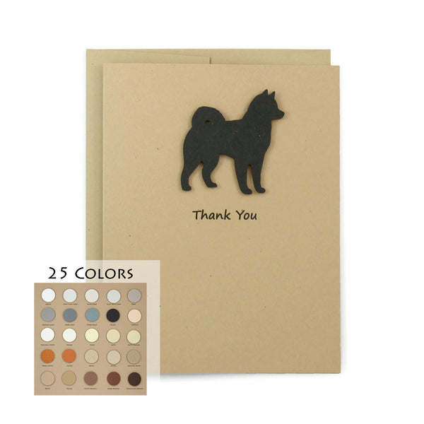 Alaskan Malamute Thank You Card | 25 Dog Colors Available | Choose Inside Phrase | Single Card or 10 Pack