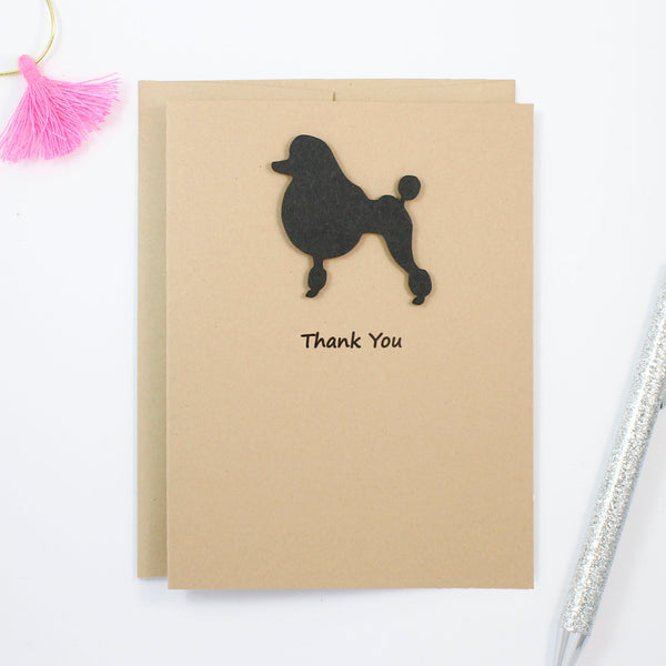 Poodle Thank You Card | Handmade Cards | Single or 10 Pack | Toy Miniature Standard Continental Clip