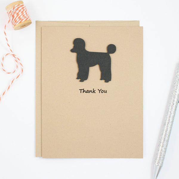 Poodle Thank You Card | Handmade Dog Cards | Single or 10 Pack Toy Miniature Standard Sporting Clip