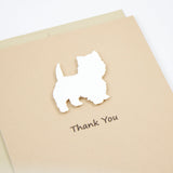 Westie Thank You Card | Handmade White Dog Greeting Cards | Single or 10 Pack | West Highland White Terrier