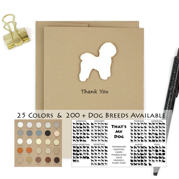 Dog Thank You Card | 200+ Dog Breeds to Choose from | 25 Dog Colors Available | Choose Inside Phrase | Single Card or 10 Pack
