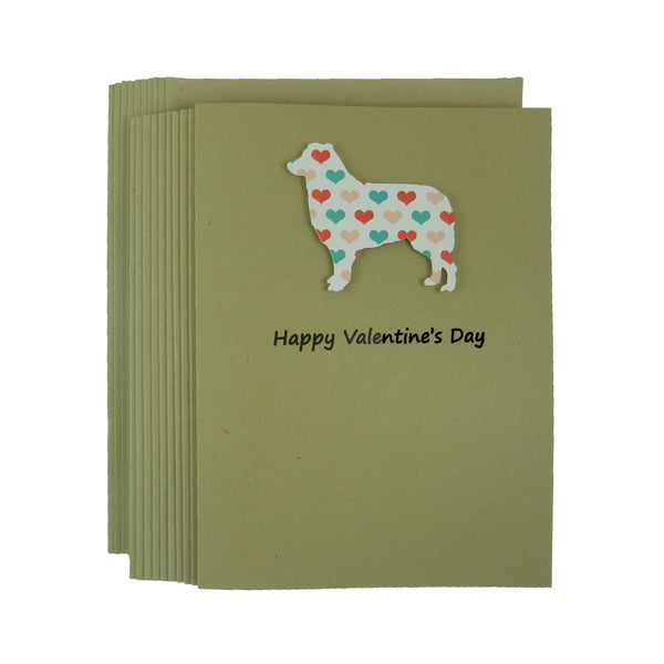 Border Collie Dog Valentine's Day Cards - Heart Patterned 10 Pack