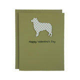 Border Collie Valentine's Day Cards Red Heart - 10 Pack -  Heart Patterned
