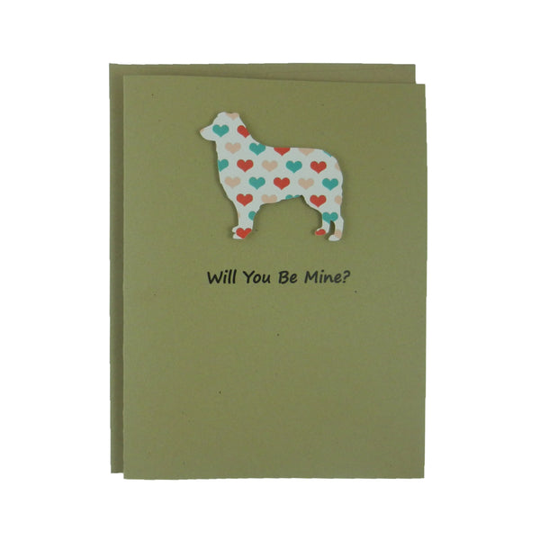 Border Collie Dog Valentines Day Greeting Card