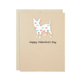 Chihuahua Valentine's Day Greeting Card | Colored Hearts | Pick Inside Phrases | Single or 10 Pack