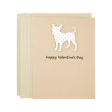 Chihuahua Valentine's Day Greeting Card | Small Red Hearts | Pick Inside Phrases | Single or 10 Pack