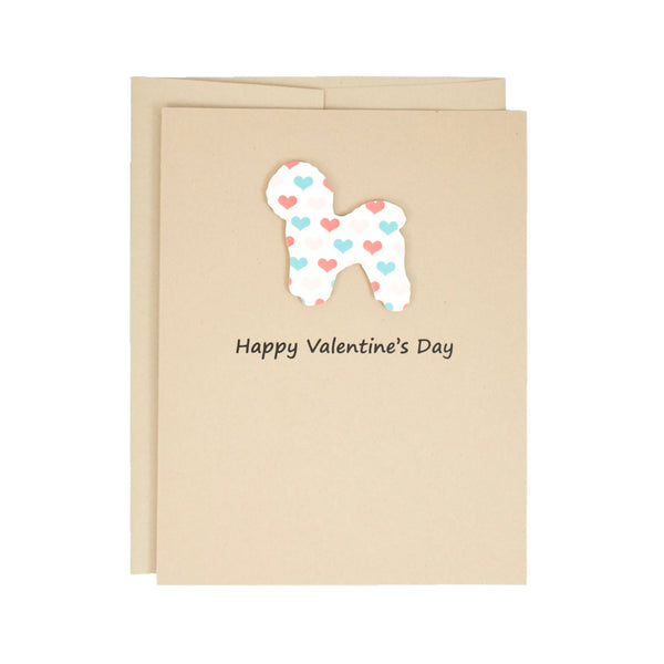 Bichon Frise Valentine's Day Dog Greeting Card | Colored Hearts | Pick Inside | Single or 10 Pack