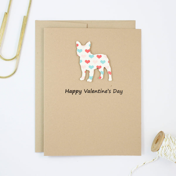 French Bulldog Valentine's Day Greeting Card | Handmade Frenchie Valentine Cards | Single or 10 Pack