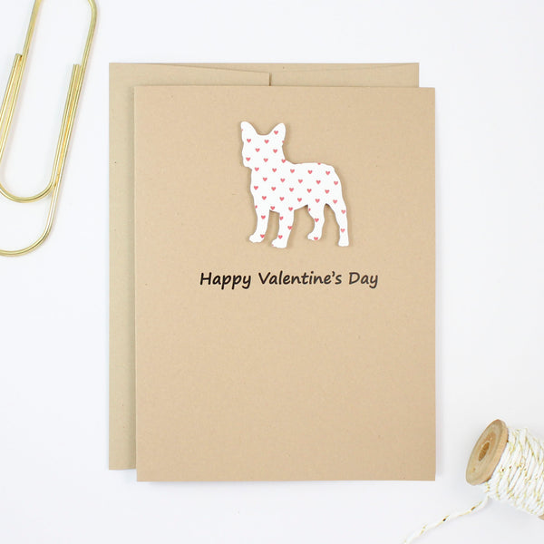 French Bulldog Valentine's Day Greeting Card | Frenchie Handmade Valentine Cards | Single or 10 Pack