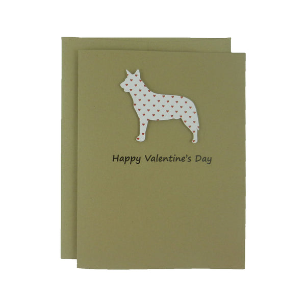 Australian Cattle Dog Valentine's Day Cards Red Heart - Cattle Dog Heart Patterned - Embellish by Jackie