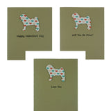 Pug Valentine's Day Cards - Dog Coral and Teal Heart Patterned Single Card or 10 Pack