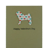 Pug Valentine's Day Cards - Dog Coral and Teal Heart Patterned Single Card or 10 Pack - Embellish by Jackie