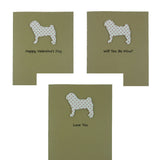 Pug Valentine's Day Cards - Dog Small Red Heart Patterned Single Card or 10 Pack - Embellish by Jackie