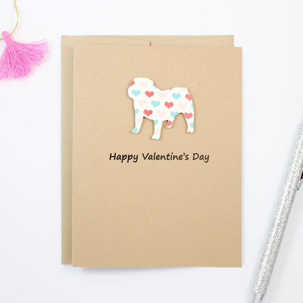 Bulldog Valentine's Day Greeting Card | Colored Hearts | Choose Phrases | Single or 10 Pack