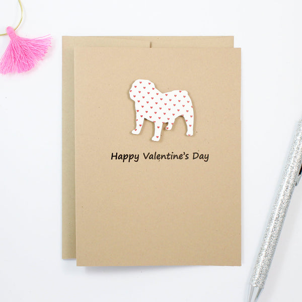 Bulldog Valentine's Day Cards | Handmade Red Hearts Dog Valentine Greeting Card | Choose Phrases